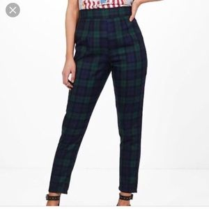 Navy and green plaid pants NWT